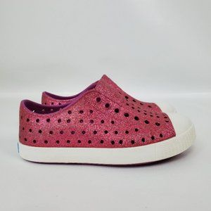 Native Girls Pink Slip On Sparkly Bling Loafers 11